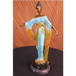 "12 LBS Bronze Sculpture Gorgeous Woman Blossom Art Nouveau Decoration Statue (19""X11"")"
