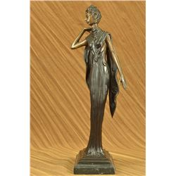"12 LBS Bronze Statue Dancer Jazz Club Figurine (19""X7"")"