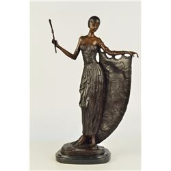 "14 LBS Hot Cast Bronze On Marble Base Art Deco Dancer Sculpture (19""X13"")"