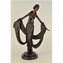 "15 LBS Art Nouveau Ribbon Dancer Bronze Sculpture (19""X13"")"