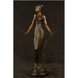 "8 LBS Art Deco Vintage Theater Jazz Singer Actress Dancer Bronze Marble Statue Artwork (19""X9"")"