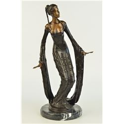 "12 LBS Very Pretty Female Bronze Classical Portrait Sculpture (18""X9"")"