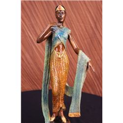 "11 LBS Art Deco Green And Gold Patina Egyptian Princess With Gown Bronze Sculpture (19""X9"")"