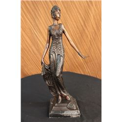 "10 LBS Bronze Sculpture Gorgeous Flower Woman Blossom Art Nouveau Deco Statue (19""X9"")"