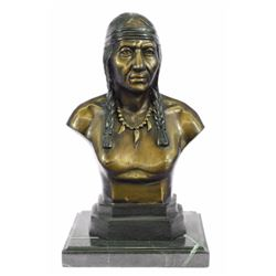 "10 LBS Native American Indian Warrior Chief Bronze Bust Sculpture (12""X7"")"