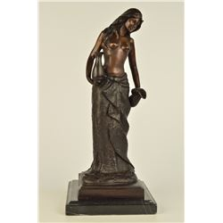 "13 LBS Topless Woman With Two Jugs Bronze Sculpture (16""X7"")"
