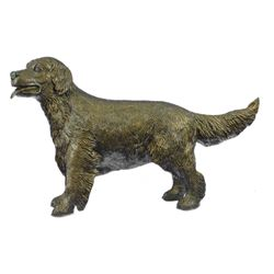 "25 LBS Puppy Golden Retriever Dog Bronze Statue (26""X17"")"