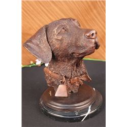 "19 LBS Adorable Labrador Retriever Bust Bronze Sculpture (12""X11"")"