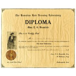 Hawaiian Hair Dressing Laboratory, 1917  Diploma