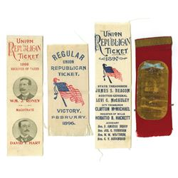 Union Republican Ticket Ribbons, ca.1896-1898
