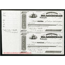 P.A. Lamping and Co., ca.1860 Unissued Bills of Exchange Pair.