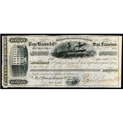 Page, Bacon & Co. San Francisco, 1854 Issued Bill of Exchange.