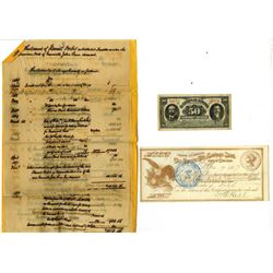 Banks note and Check 1877