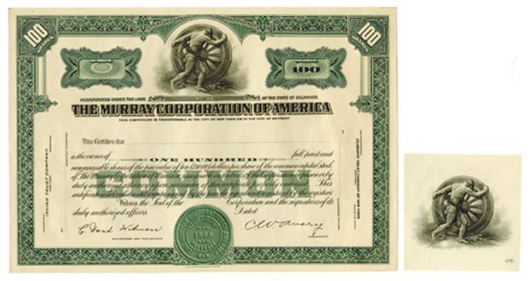 Image 1 Murray Corporation Of America Ca 1925 1930 Proof Stock Certificate