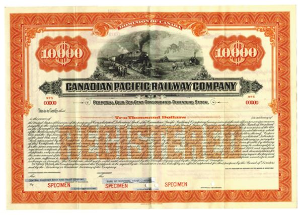 Canadian Pacific Railway Co., ca.1900-1920 Specimen Bond ... Pacific Railway Company