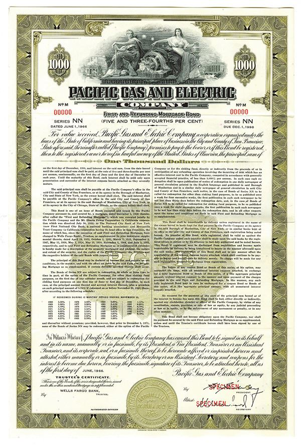 Pacific Gas and Electric Co. 1966 Specimen Bond