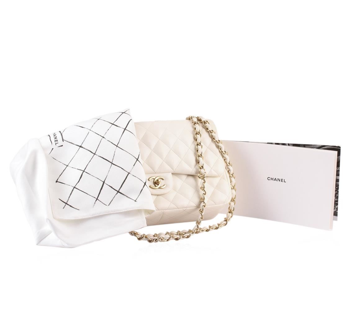 Image 1   100% Authentic Chanel Flap Bag Jumbo White Lambskin with Gold  Hardware ... 35627d11e2
