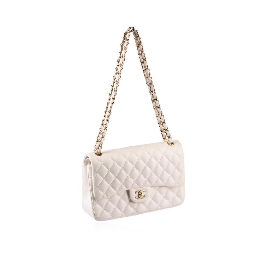 ... Image 2   100% Authentic Chanel Flap Bag Jumbo White Lambskin with Gold  Hardware ... e11a2674df