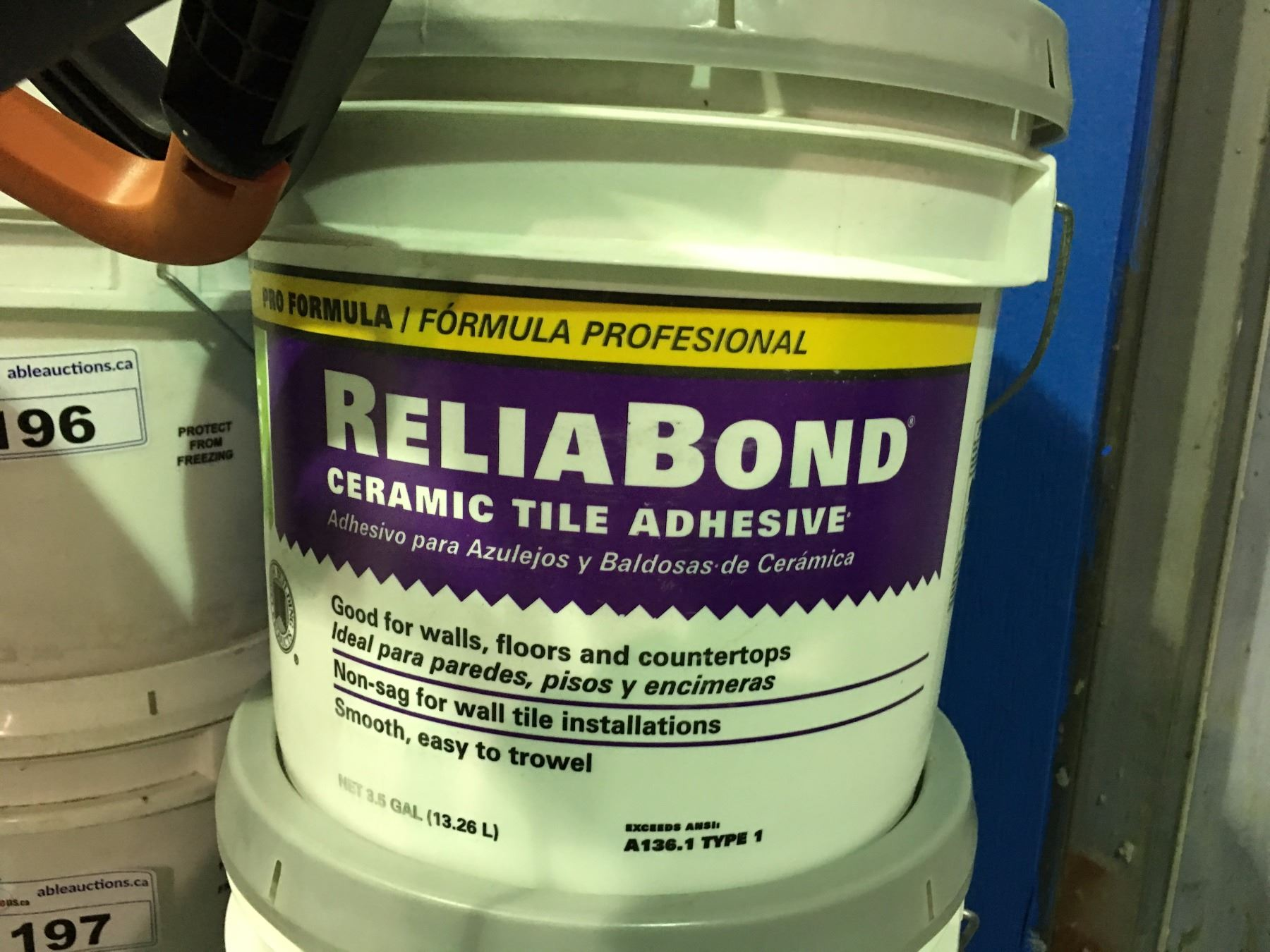 One 35 Gallon Container Of Reliabond Ceramic Tile Adhesive