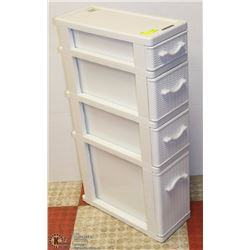 "4 DRAWER PLASTIC STORAGE 8"" X 19"" X 34"""