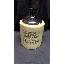 Poison Acid Crock Jug Creamery Package MFG. Co. manufacturers Creamery & Dairy supplies Minneapolis,