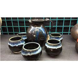 Signed Pottery Set Pitcher And 5 Cups