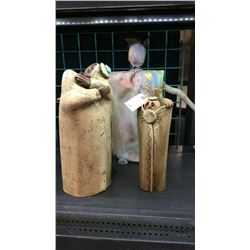 3 Signed Pottery Statues 2 by LA MON THE. 1 by Shaman