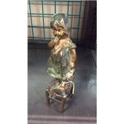 """Girl Holding Shoe Bronze By Juan Clara Numbered 16/75 . 11""""t"""