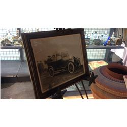 Original Photo of Buffalo Bill & Indian Chief in Early Open Touring Car With Emblem of 101  Ranch