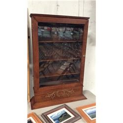 Oak Wall Display Cabinet 42 1/2''T x 27'' W x 9''D