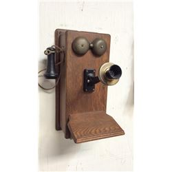 Oak Wall Phone Western Electric Co Pat 1-14-1913