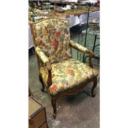 Large Carved & Upholstered Fire Side Arm Chair
