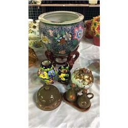 Glass Collection Large Oriental Vase, Small Oriental Urn,  Candle Set & Oil Set w/Covered Dish