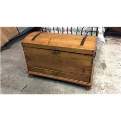 Early Pine Emigrant Trunk with Drawer Dovetail Construction. 38 1/2'' W x 26''T x  22''D