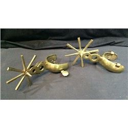 Large Pair Of Brass Mexican Style Spurs