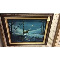 Signed Oil on Board Howling Wolf