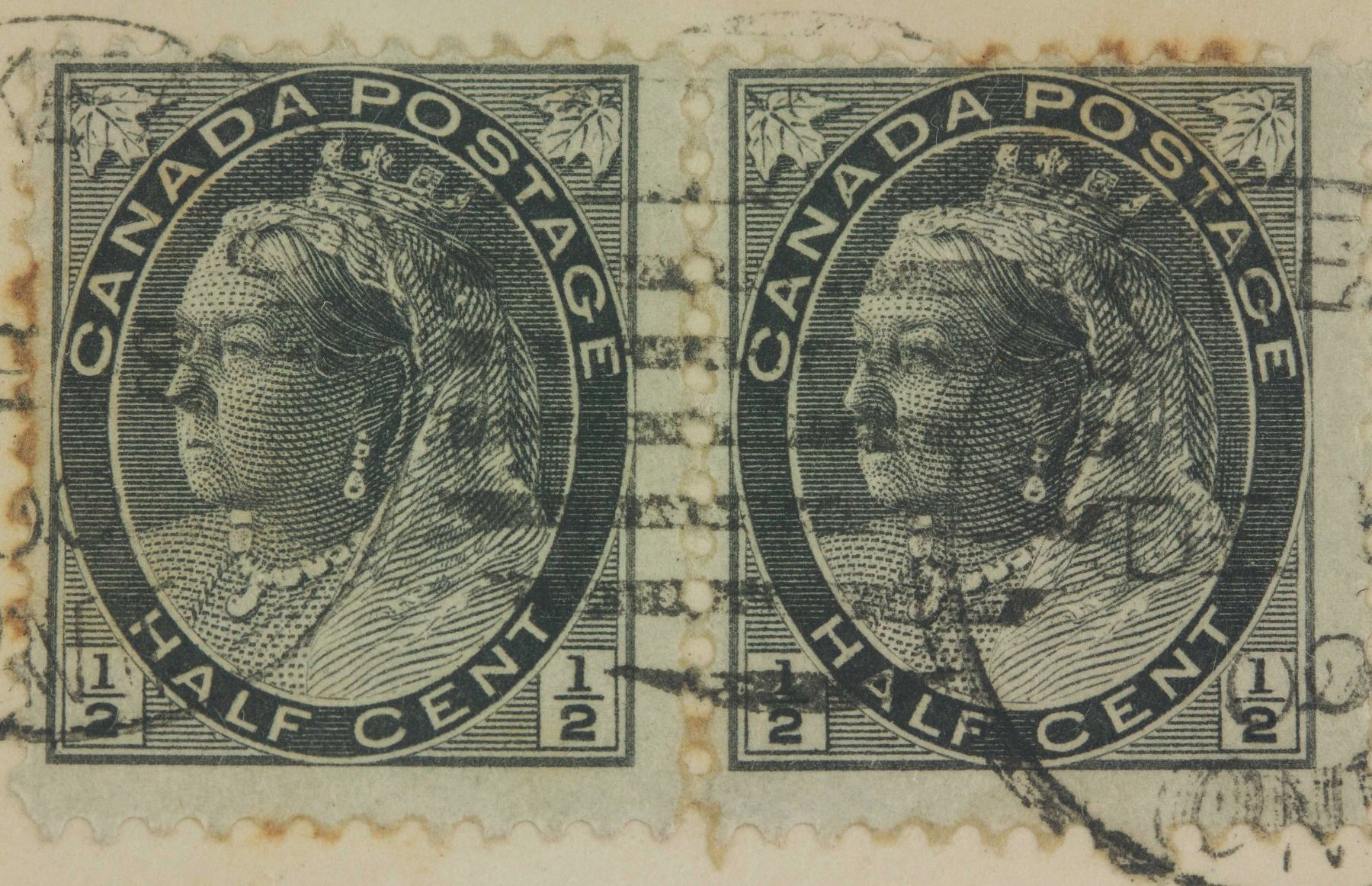 Image 2 PC 1899 Canadian Half Cent Stamps With Envelope