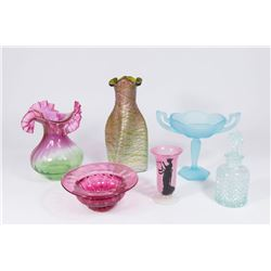 2 Glass Vases & 4 Other Pieces