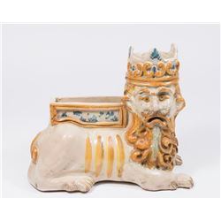 Pottery Planter Lion with Crown