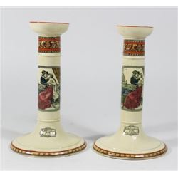 Pair Adams Pottery Shakespeare Candlesticks