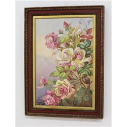 Framed Porcelain Plaque Depicting Roses