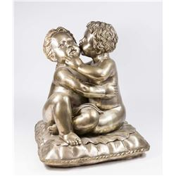 Silvered Bronze Sculpture, 2 Children on Pillow