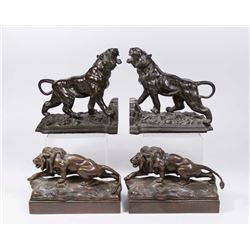 2 Pairs Bronze Bookends