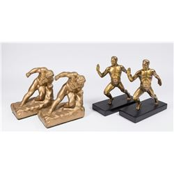 2 Pairs Figural Male Spelter Bookends