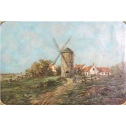 Raoul Del Bove, Rural Landscape with Windmill