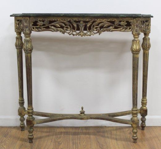 ... Image 3 : Green Marble Top French Style Console Table ...
