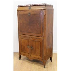 18th C. French Marble Top Secretary Abatante
