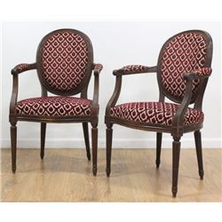 Pair Louis XVI Style Upholstered Walnut Armchairs