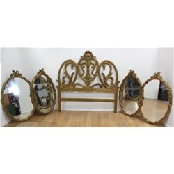 Pair Gold Framed Double Mirrors & Headboard