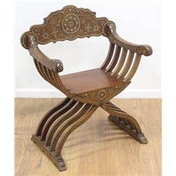 Syrian Curule Form Bone Inlaid Armchair